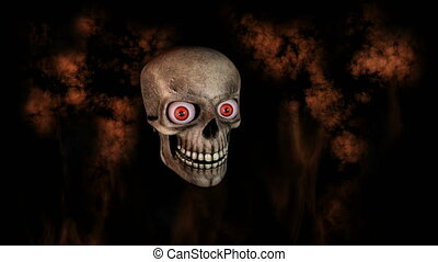 Human Skull With Eyes Laughing And Moving Towards Camera...