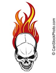 human skull with flames and fire illustration