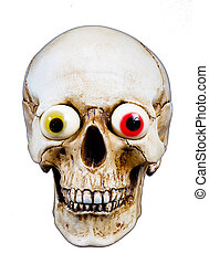 Human skull with funny eyes