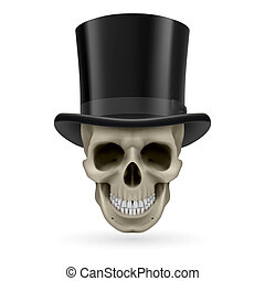 Human skull with hat on - Human skull wearing a black top...