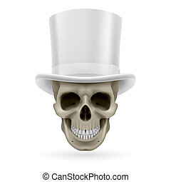 Human skull with hat on - Human skull wearing a white top...