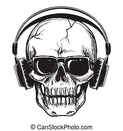 Human skull with headphones