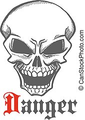 Human skull with hellish grin symbol, sketch style