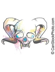 Human skull with horns and sharp teeth decorated with bright watercolor splashes