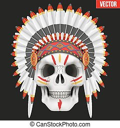 Human skull with indian chief hat and War Paint