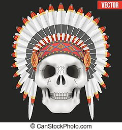Human skull with indian chief hat.