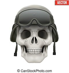 Human skull with Military helmet.