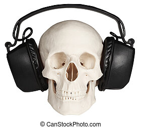 Human skull with music headphones on white background - The...