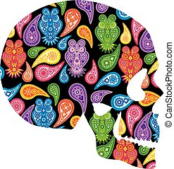 Human Skull with Paisley Owl Floral Pattern