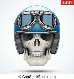 Human skull with retro chopper helmet.