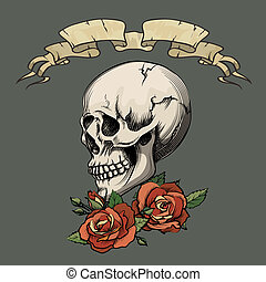 Human skull with roses on dark gray background