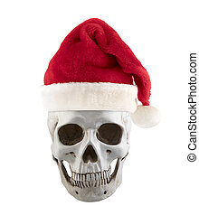 Human skull with Santa Claus red hat isolated on white background