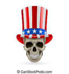 Human skull with Uncle Sam hat on - Human skull wearing...
