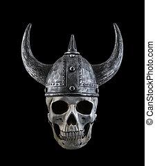 Human skull with viking horned helmet isolated on black