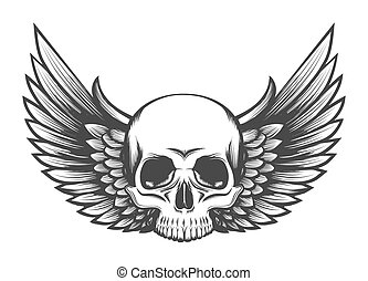 Human Skull with Wings Engraving Illustration