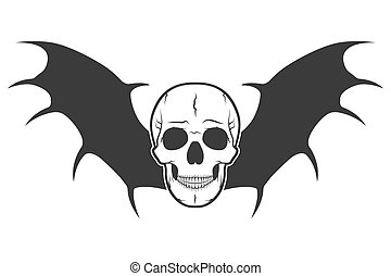 Human skull with wings. Vector illustration