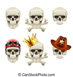 Human skulls icons photo realistic vector set