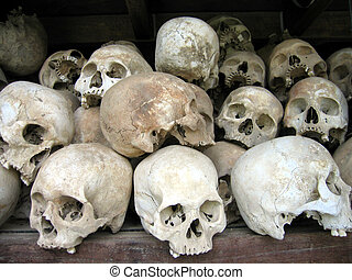 Human skulls - Skulls of victims in the Killing Fields in...