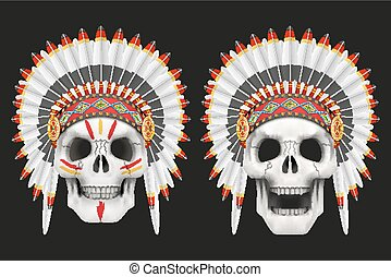 Human skulls with indian chief hat