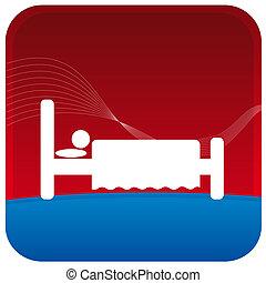 human sleeping on bed