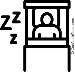 human sleeping time in bed icon vector outline illustration