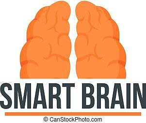 Human smart brain logo, flat style