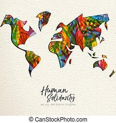 Human Solidarity Day diverse world map hand card