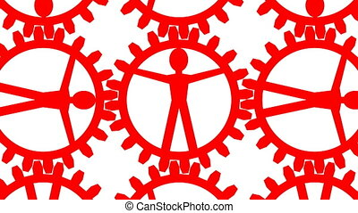 Human sources - people like gears in machine - Animation of...