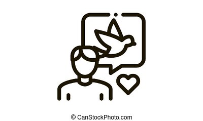 Human Speaking About Bird Icon Thin Line . Ornithologist Talk With Love About Bird, Quote Frame And Heart animated icon on white background
