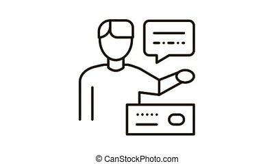 Human Speaking Icon Animation. black Human Speaking animated icon on white background