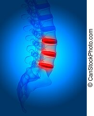 human spine - 3d rendered illustration from a part of a...