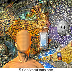 Human dream like scene in organinc windows
