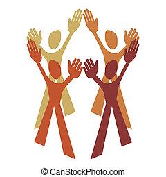 Human teamwork vector.  - Human teamwork vector design.