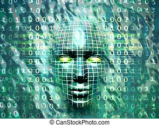 Human technology - Human head emerging from a water and...