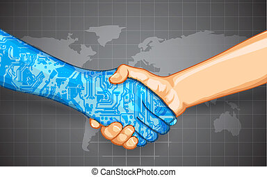 illustration of hand shake between technology and human