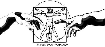 human - The Vitruvian Man with Michelangelo-Hands