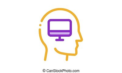 human think about computer Icon Animation
