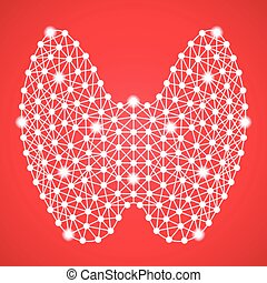 Human Thyroid Isolated On A Red Background. Vector Illustration. Endocrinology. Creative Medical Concept
