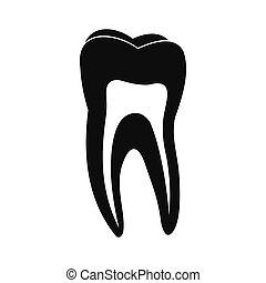 Human tooth black icon