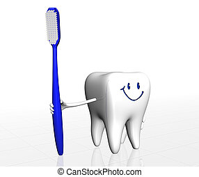 Human tooth holding tooth brush