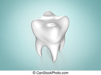 Human tooth on colorful background