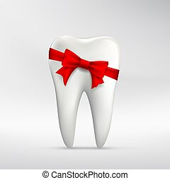 Human tooth with red ribbon