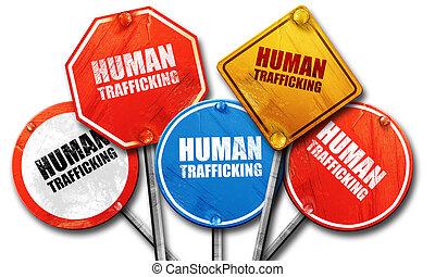 human trafficking, 3D rendering, street signs