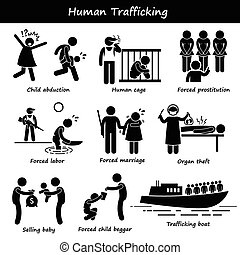 Human Trafficking - A set of human pictogram representing...