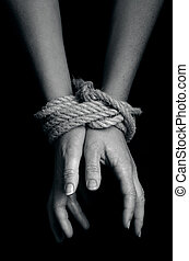 Human trafficking - Concept Photo - Hands of a missing ...