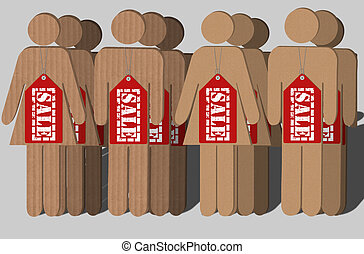 Human trafficking - An illustration of card boards cut into...
