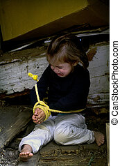 Human Trafficking of Children - Concept Photo - Missing,...