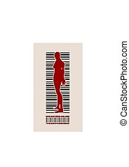 human trafficking relative image - Bar code woman silhouette...