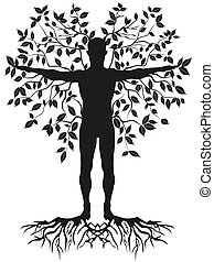 human tree - isolated black human tree from white background