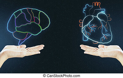 Human verses Artificial Intelligence concept with digital brain and heart hologram layouts above hands.